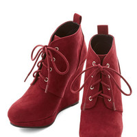 ModCloth Live Local Artist Bootie in Burgundy