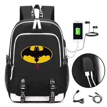 Boys Backpack Bag How to Train Your Dragon  with USB Charging Port and Lock &Headphone interface for College Student Work AT_61_4