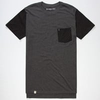 Lira Pockadot Mens Tall Pocket Tee Charcoal  In Sizes