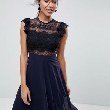 ASOS Lace Midi Dress with Lace Frill Sleeve at asos.com