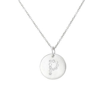 Silver Diamond Initial Charm Necklace-P