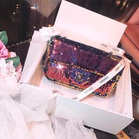 Chanel Vintage Sequin Colorful Crossbody Shoulder Bag