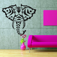 Wall decal art decor decals sticker  animal head Good life elephant  Buddhism India Indian Buddha Yoga success god lord (m79)