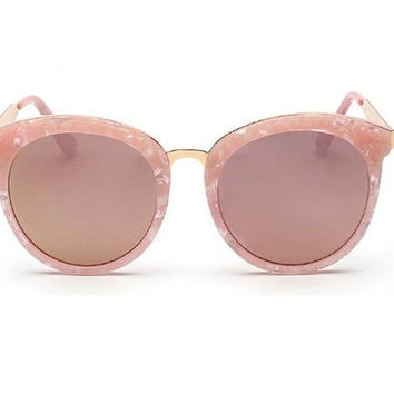 Retro Marbled Pink Sunglasses Round with Gold Trim : 100% UV Protection, Classic Eyewear, Pink Glasses, Vintage, 60's