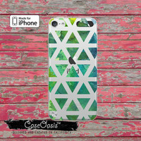 Triangle Pattern Green Watercolor Pattern Tumblr Cute Retro Case for Clear Transparent Rubber iPod Touch 5th Generation Case 5th Gen Cover