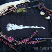 witch broom fabric patch // witchy // occult // witchcraft // screen printed // wicca