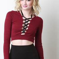 Lace Up Horizontal Ribbed Crop Top