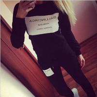 Casual Letter Long Sleeve Sportswear Top Pants Set Two-Piece