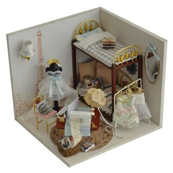 Miniature Dollhouse With Furnitures Sweet Dream in Paris,Birthday/Wedding Gift DIY Wood Handmade Doll House Assembling Model Toy