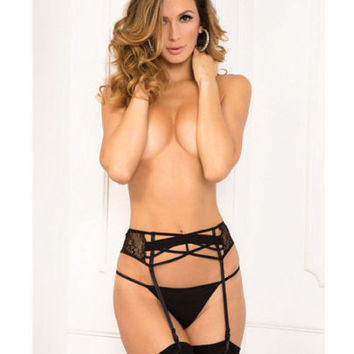 Lace Criss Cross Garter Belt Black