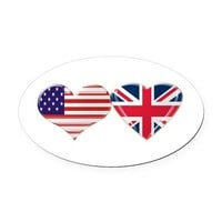 USA AND UK HEART FLAG OVAL CAR MAGNET