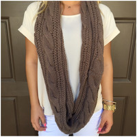 Cable Knit Thick Infinity Scarf - MOCHA - Cable Knit Thick Infinity Scarf - MOCHA