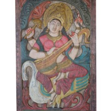 Indian Door Panel Vintage Hand Carved Wall Sculpture Saraswati Goddess Wall Art