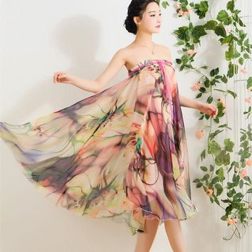 CREYET7 Quality Chiffon Skirt Colorful Print Bohemian Beach Summer Woman Fashion Clothes Vestidos Casual Female Party Long Maxi Skirts