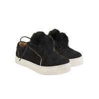 Black Suede Flat Pom Pom Detail Lace Up Skate Trainers - Bumble
