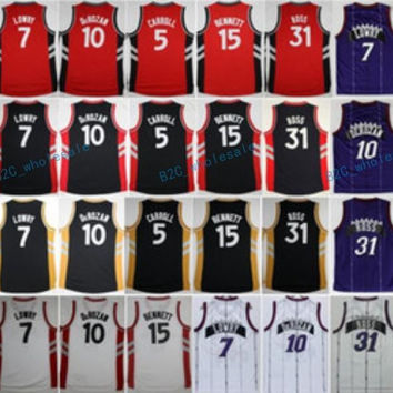Newest 10 DeMar DeRozan 7 Kyle Lowry Throwback Jersey Purple Red Black White 31 Terrence Ross 15 Anthony Bennett Shirt 5 DeMarre Carroll