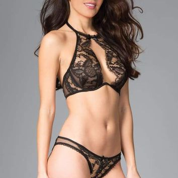 Black Halter Bra And Bikini Panty Set