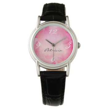 Elegant Pink Watercolor Personalized Watch