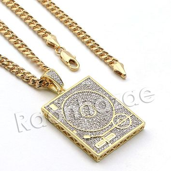 Lab diamond Micro Pave DJ Turntable Pendant w/ Miami Cuban Chain BR025