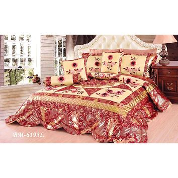 Tache 4-6 Piece Floral Red and Gold Spring Blooms Patchwork Comforter Quilt Set (BM-6193)