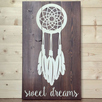 Sweet Dreams Dream Catcher Wood Sign - Rustic - Nursery - Bedroom - Decor