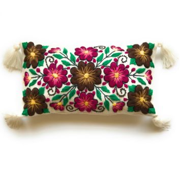 Handmade Wool Lumbar Pillow with Alpaca Floral Pattern Stitchin. Made In Peru.