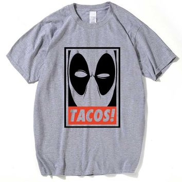 2016 t shirt Men Deadpool Marvel T-Shirt Gray/White Anime Printed Clothing Cotton Summer Short Sleeve Tshirts Homme