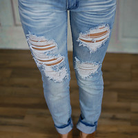 Rugged Destroyed Jeans (Light Wash) - Piace Boutique