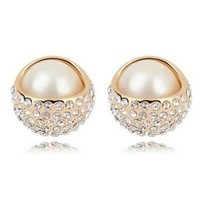 Sparkly Pearl Beauty Rhinestone Earrings - LilyFair Jewelry