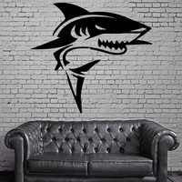 Wall Stickers Vinyl Decal Shark Predator Marine Animal Decor Bathroom (ig576)