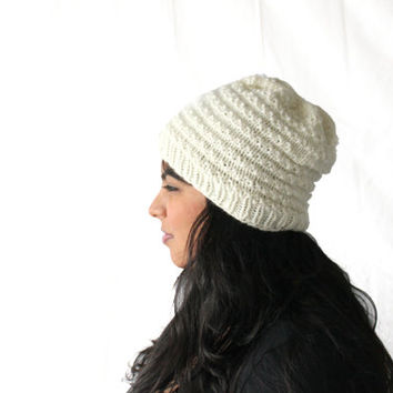 Knit Women's Beanie Hat, Ivory Beanie, Lacy Hat, Gifts for Teens, Cute Beanie, Ribbed Beanie, Winter Accessories
