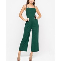 lush clothing - wide leg slightly cropped jumpsuit - forest green