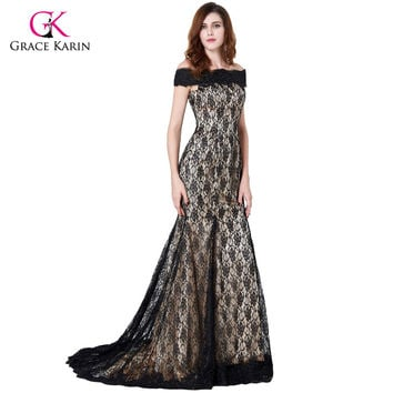 Grace Karin Mother Of The Bride Dresses For Wedding Party Boat Neck Lace Floor Length Groom Formal Evening Gowns Occasion Dress