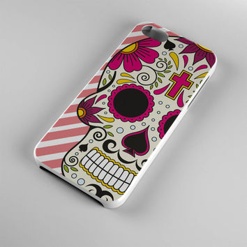 DS270-iPhone Case - Iphone 5 case-Iphone 5s case - Iphone 4 case - Iphone 4s case - Iphone Cover -Sugar Skull Stripes Hearts iPhone Case