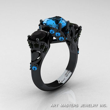 Scandinavian 14K Black Gold 2.0 Ct Heart Blue Topaz Black Diamond Three Stone Designer Engagement Ring R434M-14KBGBDBT