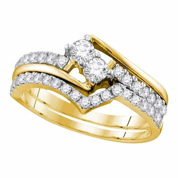 10kt Yellow Gold Women's Round 2-Stone Diamond Hearts Together Bridal Wedding Engagement Ring Band Set 3/4 Cttw - FREE Shipping (US/CAN) (Certified)