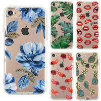 Case For iPhone  Plants Leaves Flower Flamingo Lips 7 Plus 6s 5S