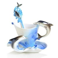 Glodeals (TM) Hand Crafted Porcelain Enamel Delicate Tea Coffee Cup Set with Saucer and Spoon (Dolphin)