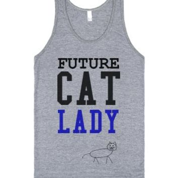 Future Cat Lady tank top tee t shirt-Unisex Athletic Grey Tank