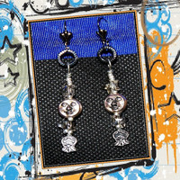 celestial earrings with Swarovski crystal stars, silver moons, original, unique