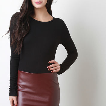 Fitted Twofer Vegan Leather Dress