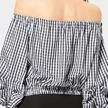Monochrome Plaid Off Shoulder Bow Tie Front Puff Sleeve Blouse