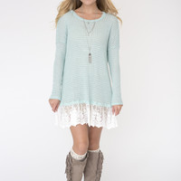 Mint Lace Bottom Dress
