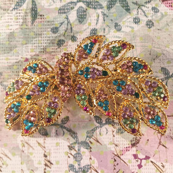 Vintage Brooch, Gold With Colorful Rhinestone Accents, Vintage Jewelry, Can Be Worn Horizontal Or Vertical