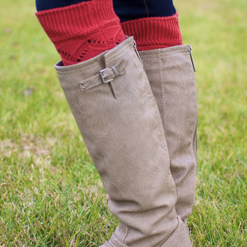 Cable Knit Boot Cuffs (Rust)