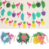 Lychee Flamingo Pineapple Garland Leaves Banner Summer Home Birthday Party Festival Decoration Bunting Decor Wedding Decoration