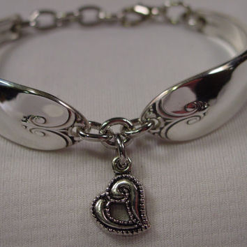 A Spoon Rings Plus Cute Spoon Bracelet Exquisite Pattern With Heart charm Handmade Spoon Jewelry b156
