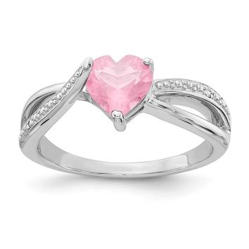 Sterling Silver 7mm Heart Light Pink CZ Genuine Diamond Accented Infinity Inspired Ring