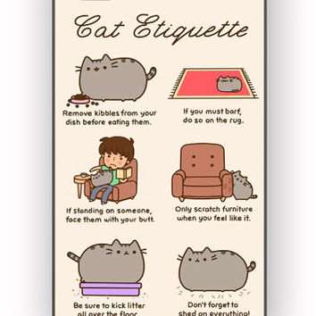 Pusheen cat cat etiquette for iPhone 4/4S Case **