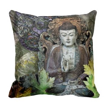 Fall Color Buddha Throw Pillow - Autumn Wisdom Art